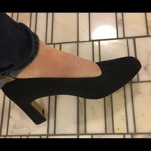 "Connie black fabric dress shoes 3"" high heels 8w"